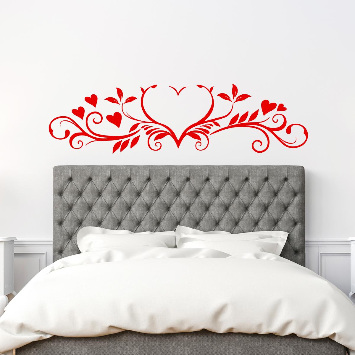 sticker coeurs et fleurs harmonieux baroque stickers chambre t tes de lit ambiance sticker. Black Bedroom Furniture Sets. Home Design Ideas