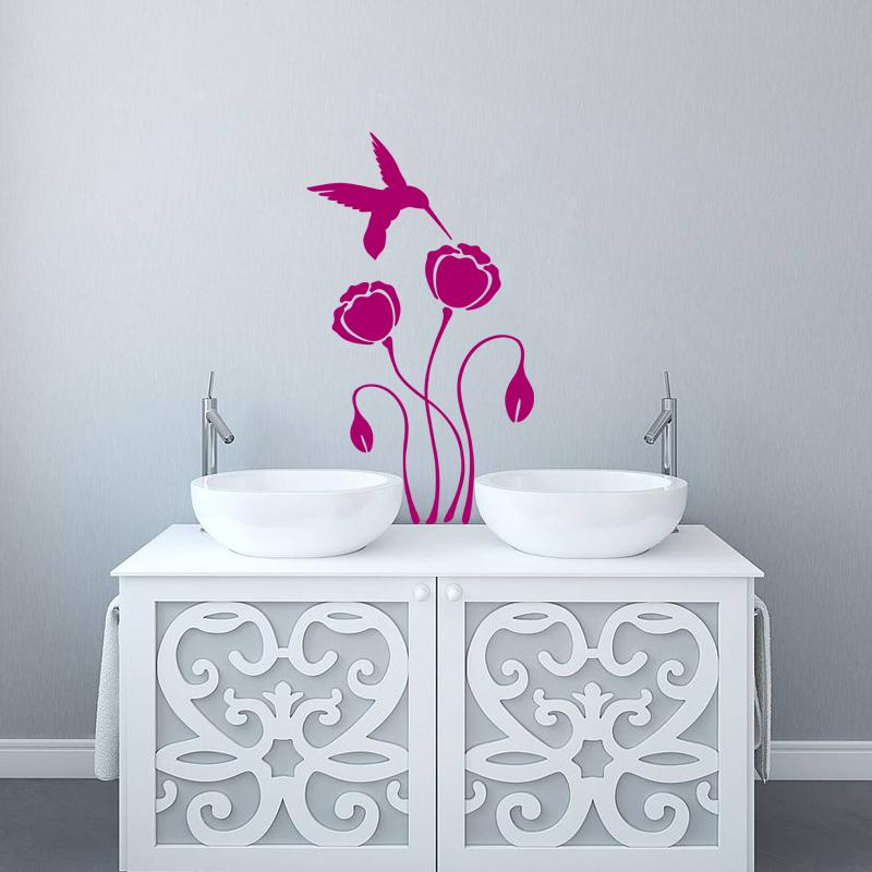 stickers muraux pour salle de bain sticker mural colibri piquant une fleur ambiance. Black Bedroom Furniture Sets. Home Design Ideas
