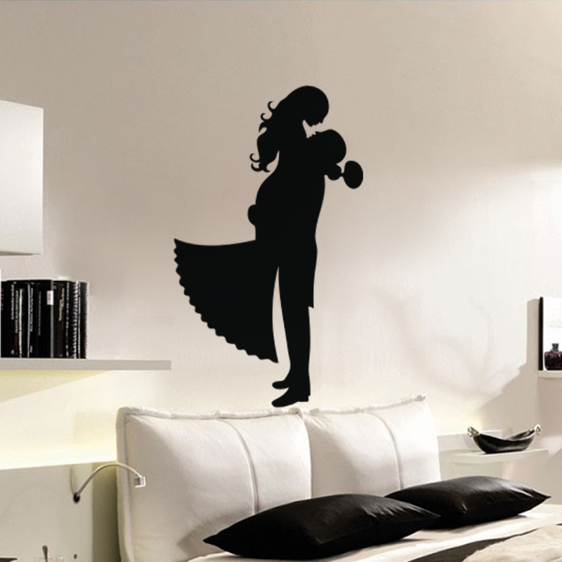 stickers muraux pour chambre sticker mural couple amoureux ambiance. Black Bedroom Furniture Sets. Home Design Ideas