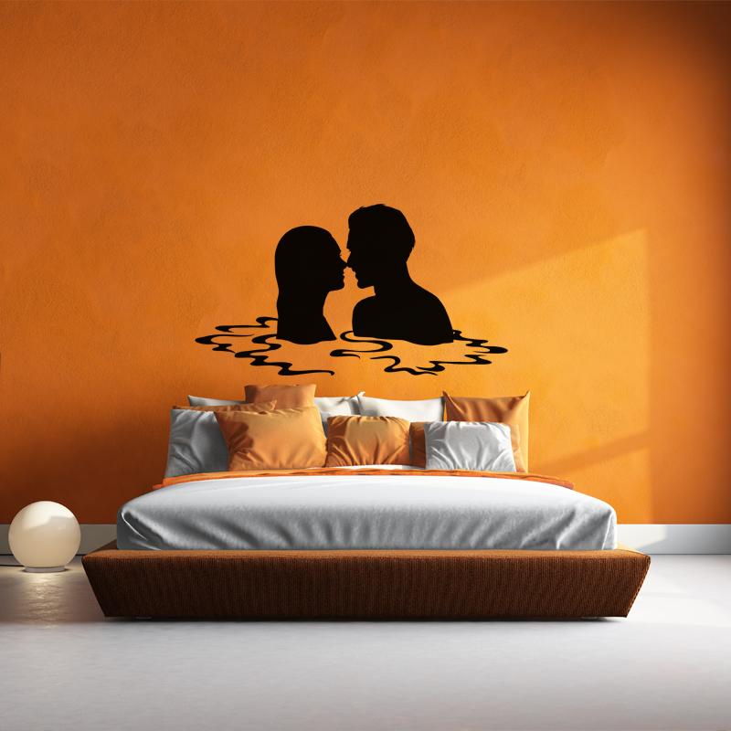 sticker couple d 39 amoureux dans l 39 eau stickers f tes stickers saint valentin ambiance sticker. Black Bedroom Furniture Sets. Home Design Ideas