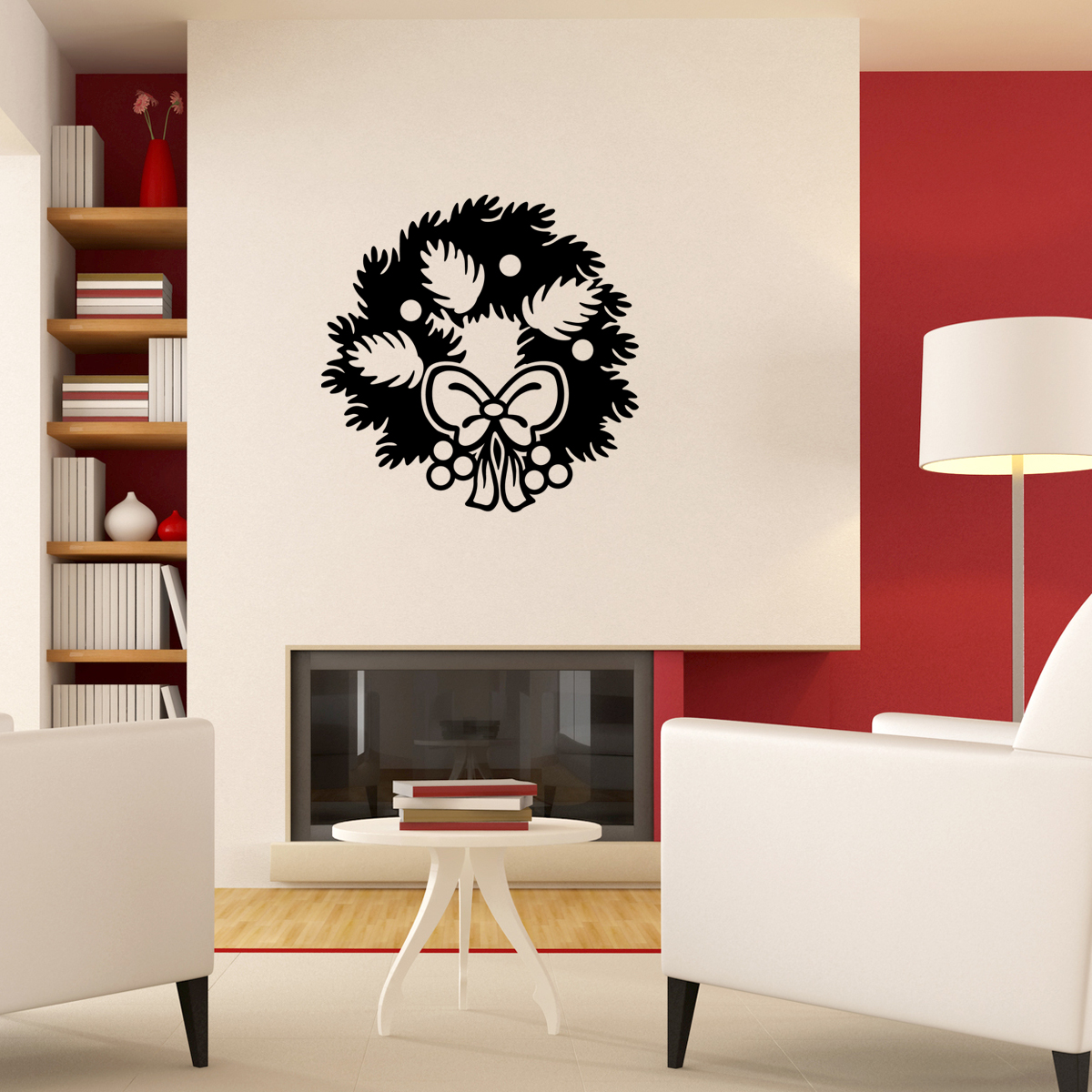 stickers d coratifs pour no l sticker couronne de no l ambiance. Black Bedroom Furniture Sets. Home Design Ideas