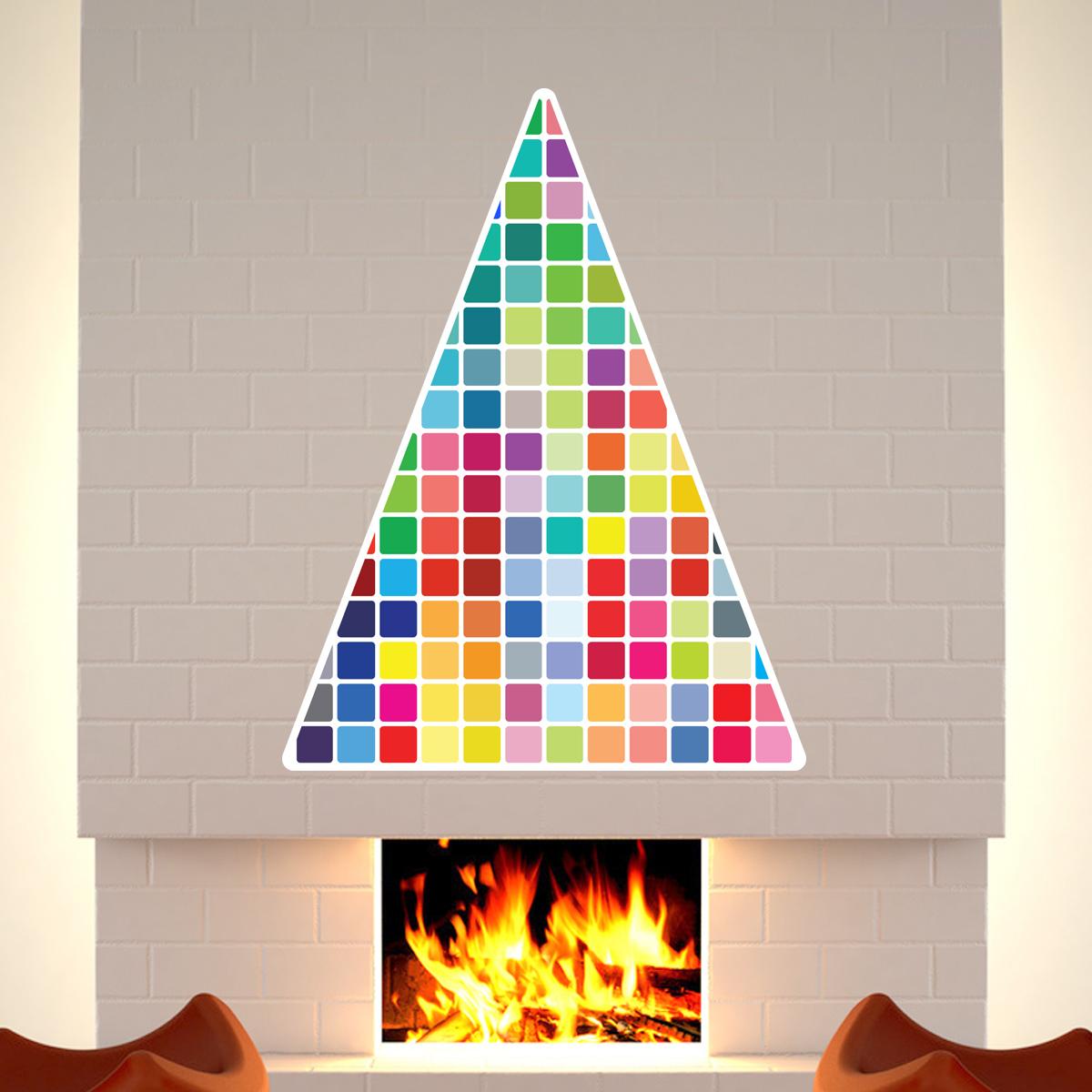 sticker sapin de noel mosaique couleur stickers noel With carrelage adhesif salle de bain avec led christmas tree