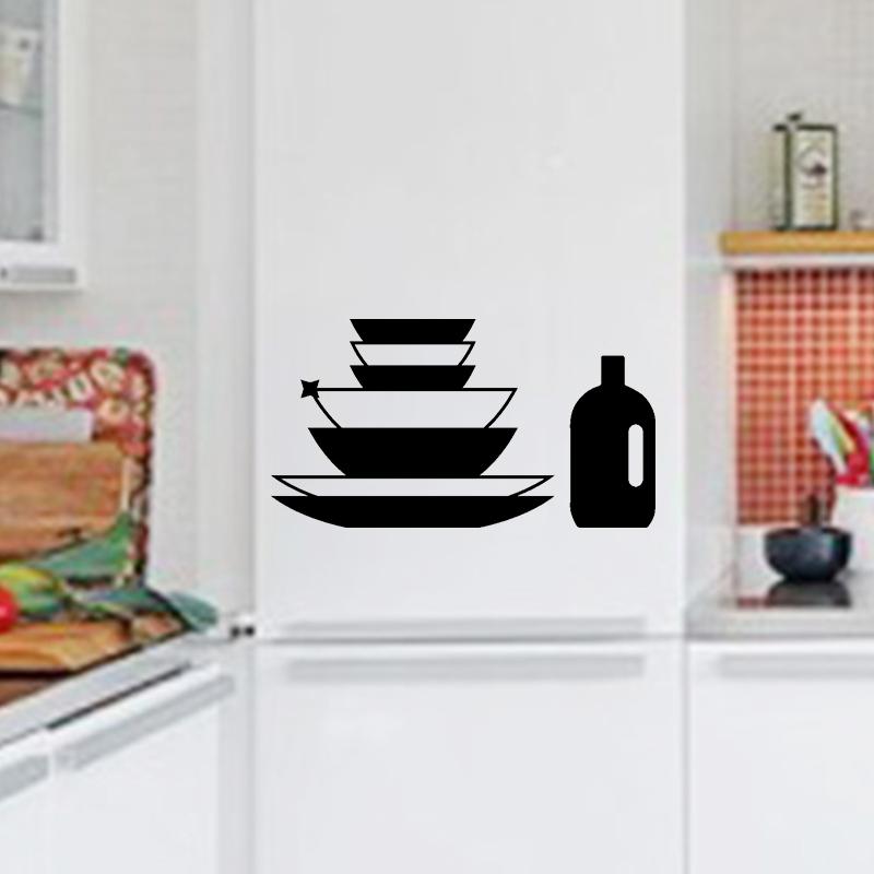 sticker cuisine assiettes et bouteille stickers cuisine frigo ambiance sticker. Black Bedroom Furniture Sets. Home Design Ideas