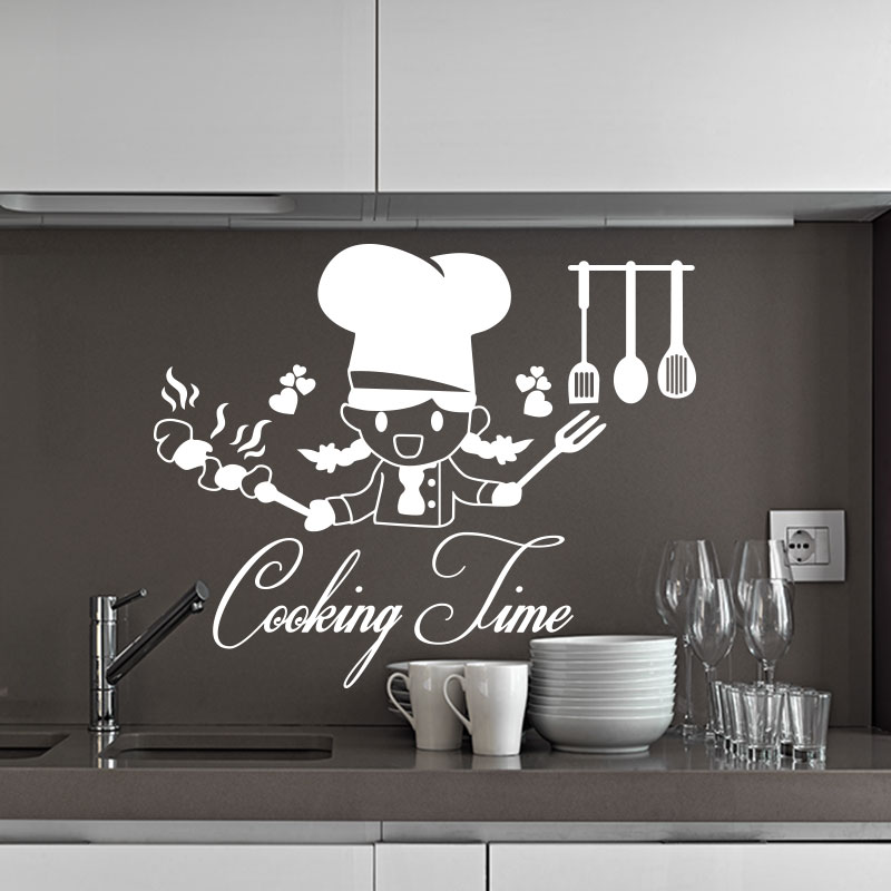sticker cuisine citation cooking time stickers citations anglais ambiance sticker. Black Bedroom Furniture Sets. Home Design Ideas