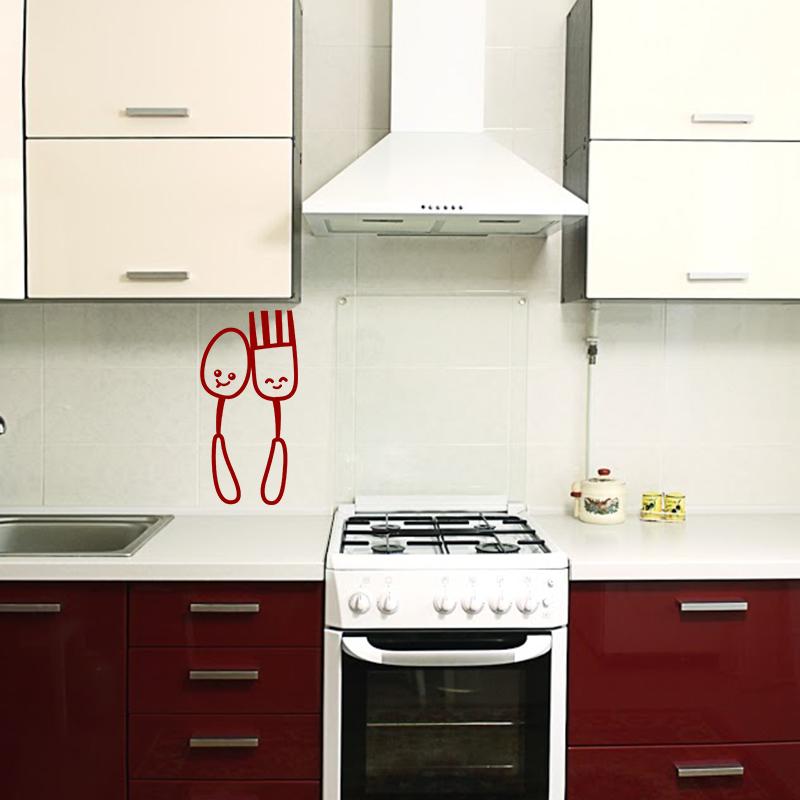 sticker cuisine cuill re et fourchette amusants stickers cuisine ustensiles ambiance sticker. Black Bedroom Furniture Sets. Home Design Ideas