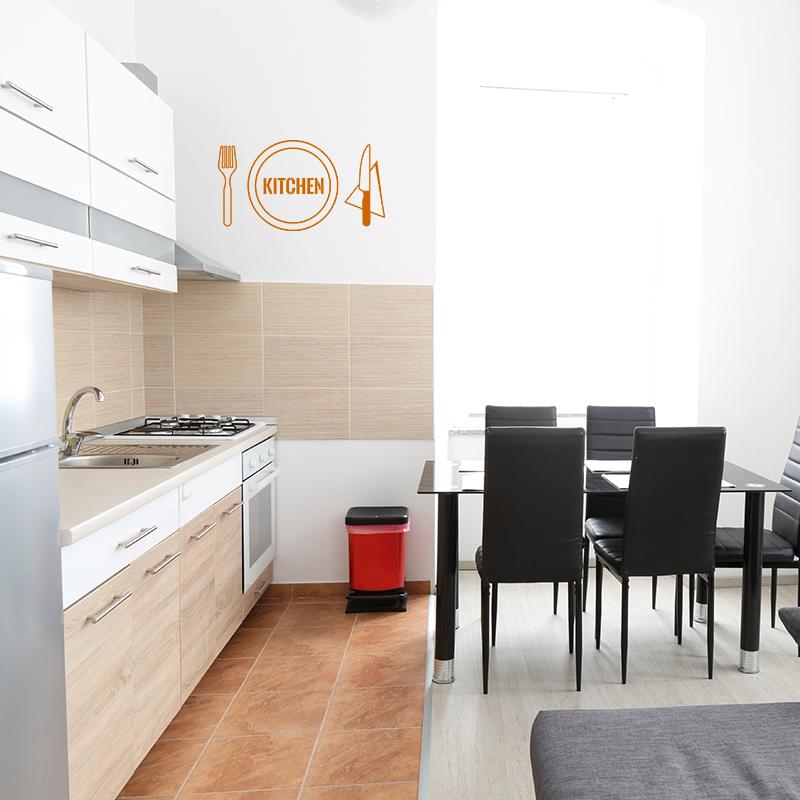 sticker cuisine design couvert kitchen stickers cuisine textes et recettes ambiance sticker. Black Bedroom Furniture Sets. Home Design Ideas