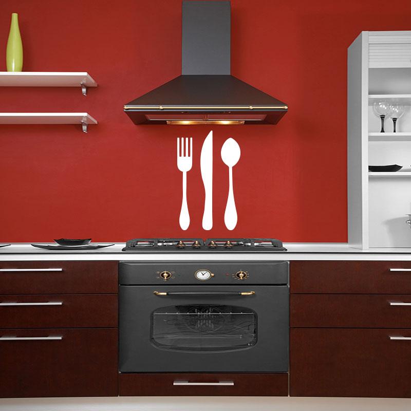 Sticker cuisine fourchette couteau de table et cuill re stickers cuisine ustensiles ambiance - Porte cuillere de cuisine ...