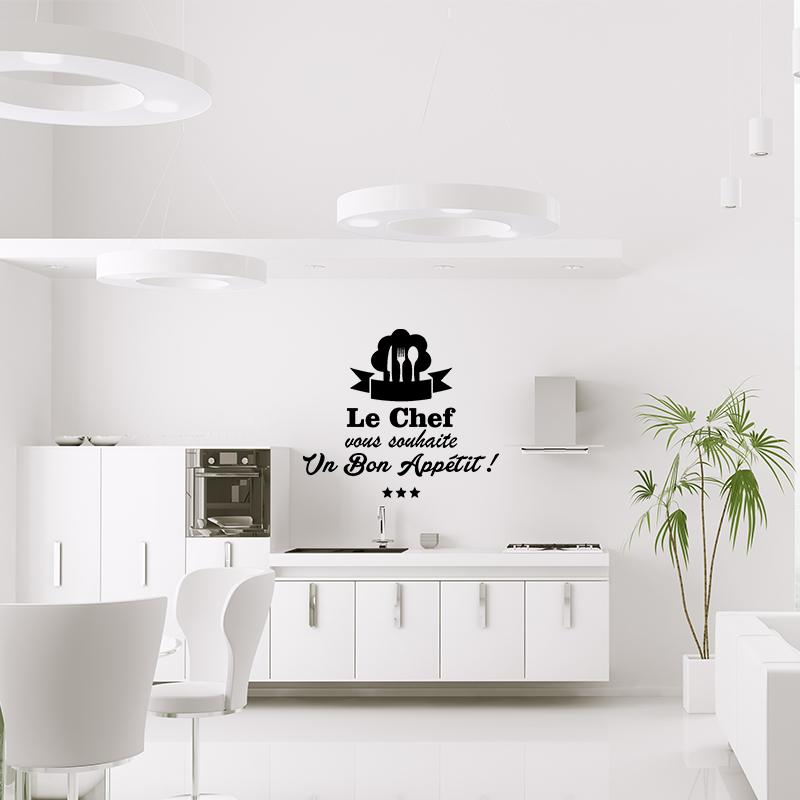 sticker cuisine le chef vous souhaite un bon appetit stickers cuisine textes et recettes. Black Bedroom Furniture Sets. Home Design Ideas