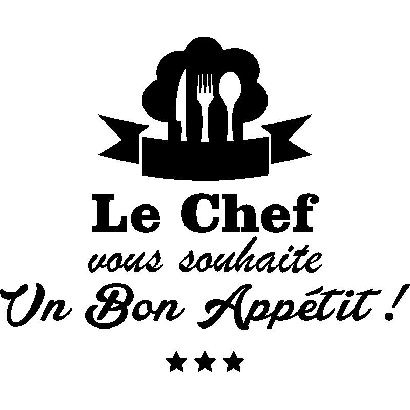 Sticker cuisine le chef vous souhaite un bon appetit for Stickers de cuisine