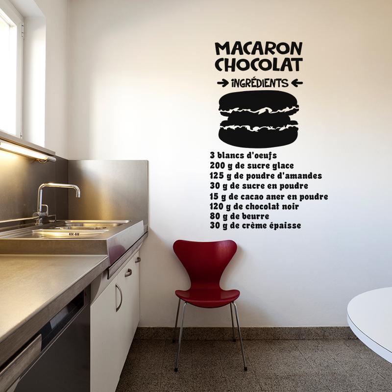 Stickers muraux pour la cuisine sticker cuisine macaron chocolat ingrédients