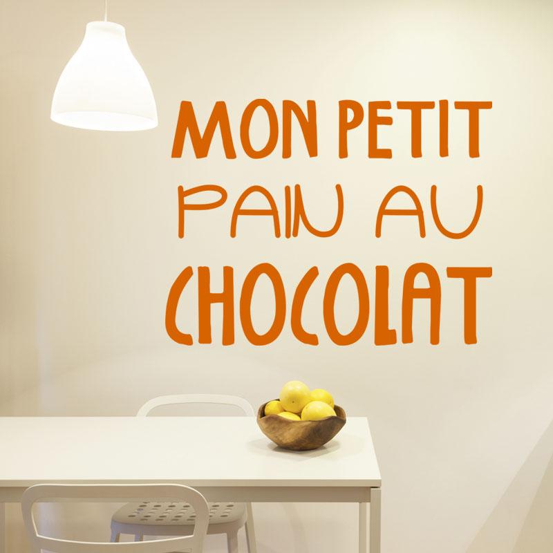 sticker cuisine mon petit pain au chocolat stickers cuisine textes et recettes ambiance sticker. Black Bedroom Furniture Sets. Home Design Ideas