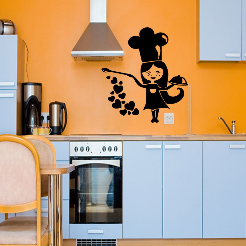 sticker cuisine petite chef stickers cuisine ustensiles ambiance sticker. Black Bedroom Furniture Sets. Home Design Ideas