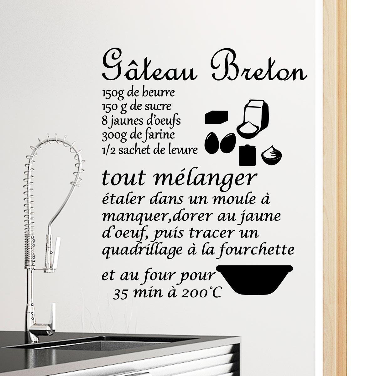 sticker cuisine recette g teau breton stickers citations fran ais ambiance sticker. Black Bedroom Furniture Sets. Home Design Ideas