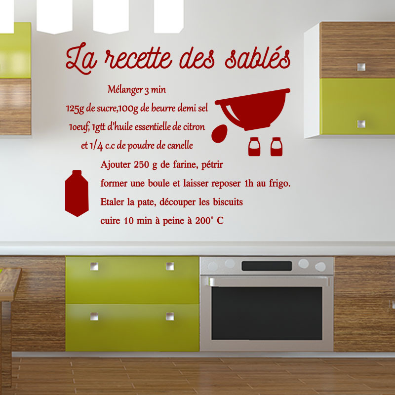 sticker cuisine recette la recette des sabl s stickers citations fran ais ambiance sticker. Black Bedroom Furniture Sets. Home Design Ideas
