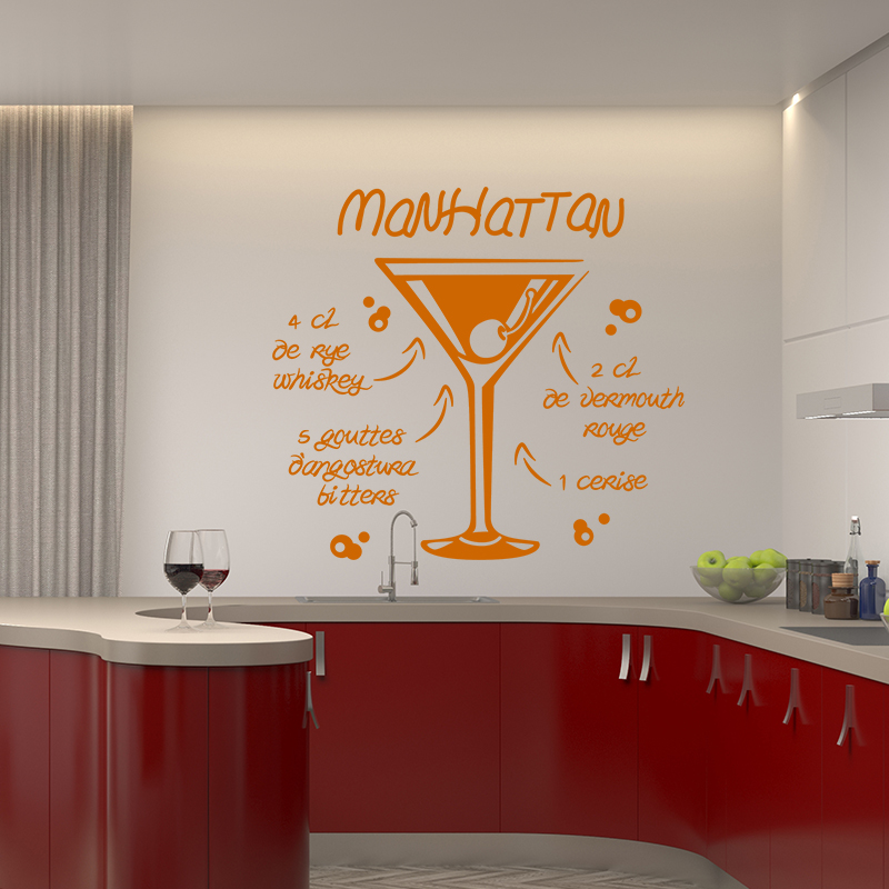 sticker cuisine recette manhattan 1 cerise stickers citations fran ais ambiance sticker. Black Bedroom Furniture Sets. Home Design Ideas