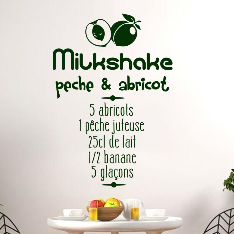 sticker cuisine recette milkshake peche abricot stickers citations fran ais ambiance sticker. Black Bedroom Furniture Sets. Home Design Ideas
