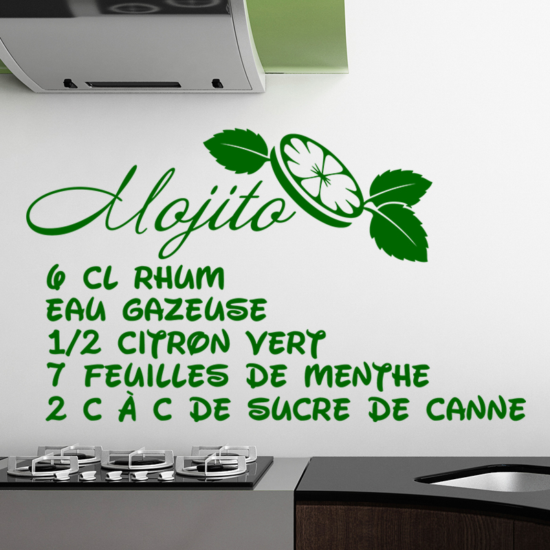 sticker cuisine recette mojito eau gazeuse stickers citations fran ais ambiance sticker. Black Bedroom Furniture Sets. Home Design Ideas