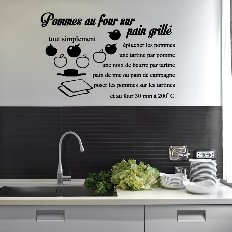 sticker cuisine recette pomme au four sur pain grill stickers citations fran ais ambiance. Black Bedroom Furniture Sets. Home Design Ideas