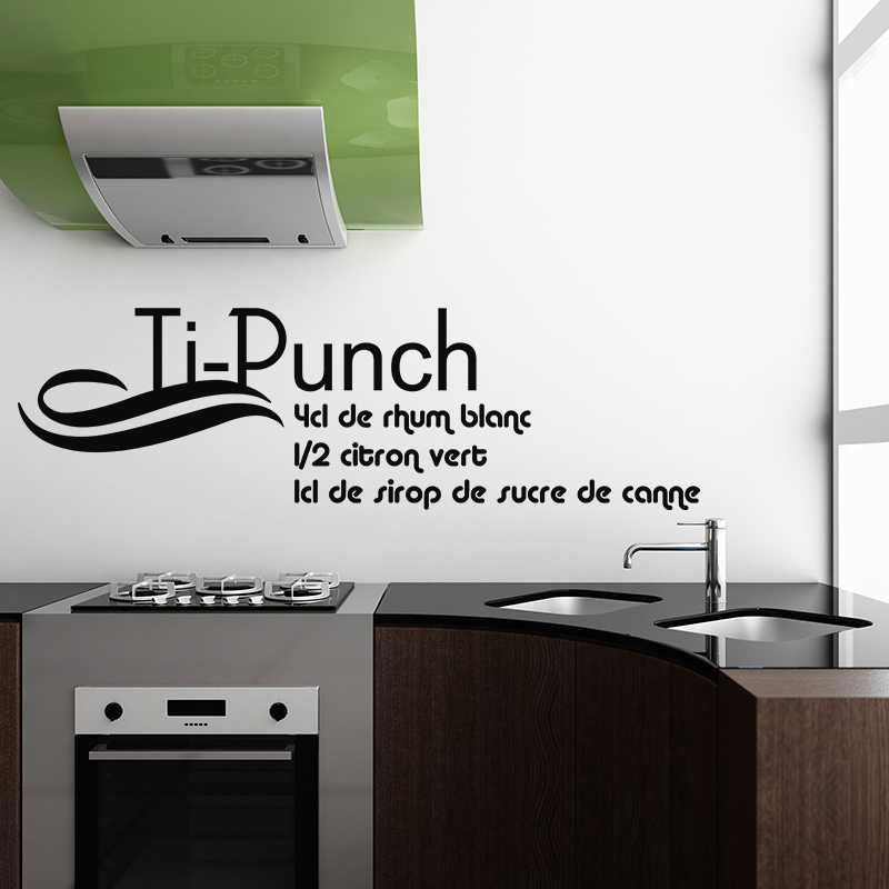 sticker cuisine recette ti punch 4 cl de rhum blanc stickers citations fran ais ambiance sticker. Black Bedroom Furniture Sets. Home Design Ideas