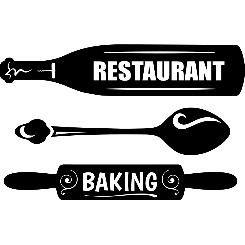 sticker cuisine restaurant baking stickers cuisine textes et recettes ambiance sticker. Black Bedroom Furniture Sets. Home Design Ideas