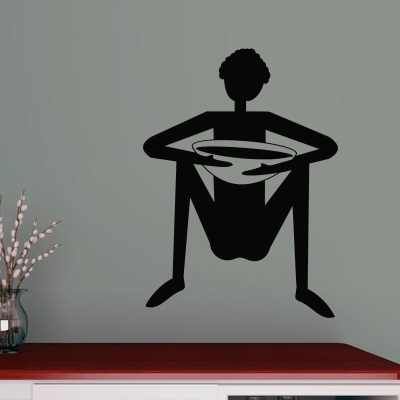 Sticker cuisine silhouette homme assis jambe cart - Stickers porte cuisine ...