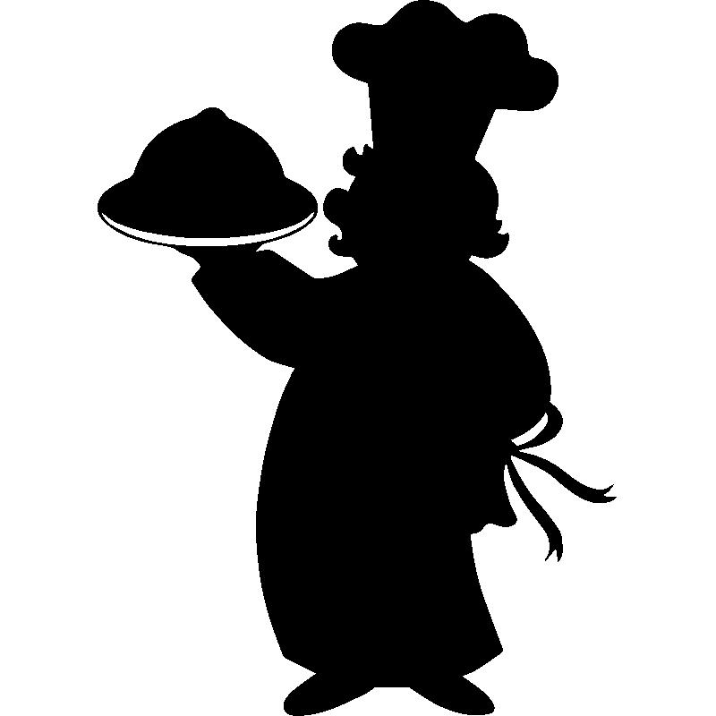 Sticker cuisine silhouette mini chef stickers cuisine for Cuisinier png
