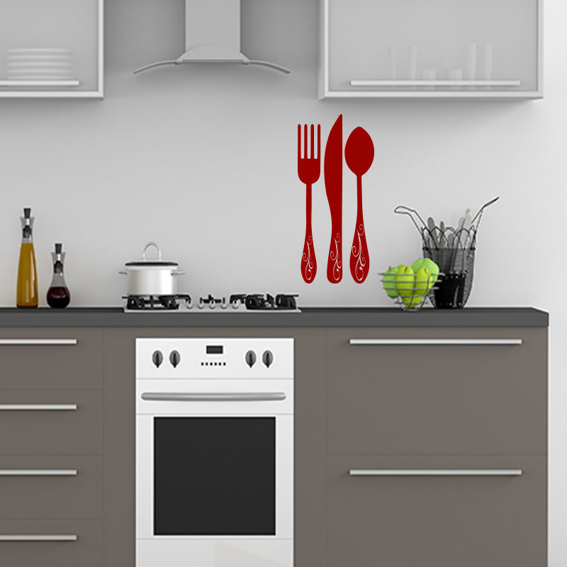 sticker cuisine somptueux cuill re couteau fourchette stickers cuisine ustensiles ambiance. Black Bedroom Furniture Sets. Home Design Ideas
