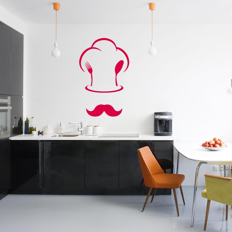 sticker cuisine toque de chef et moustache stickers cuisine ustensiles ambiance sticker. Black Bedroom Furniture Sets. Home Design Ideas