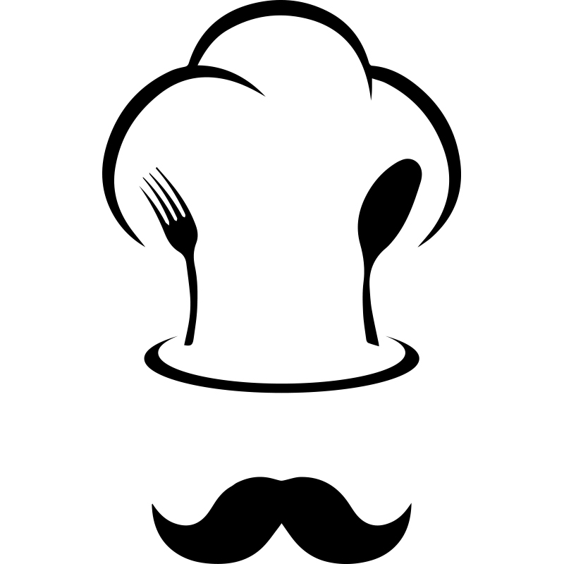 sticker cuisine toque de chef et moustache stickers cuisine ustensiles ambiance sticker. Black Bedroom Furniture Sets. Home Design Ideas