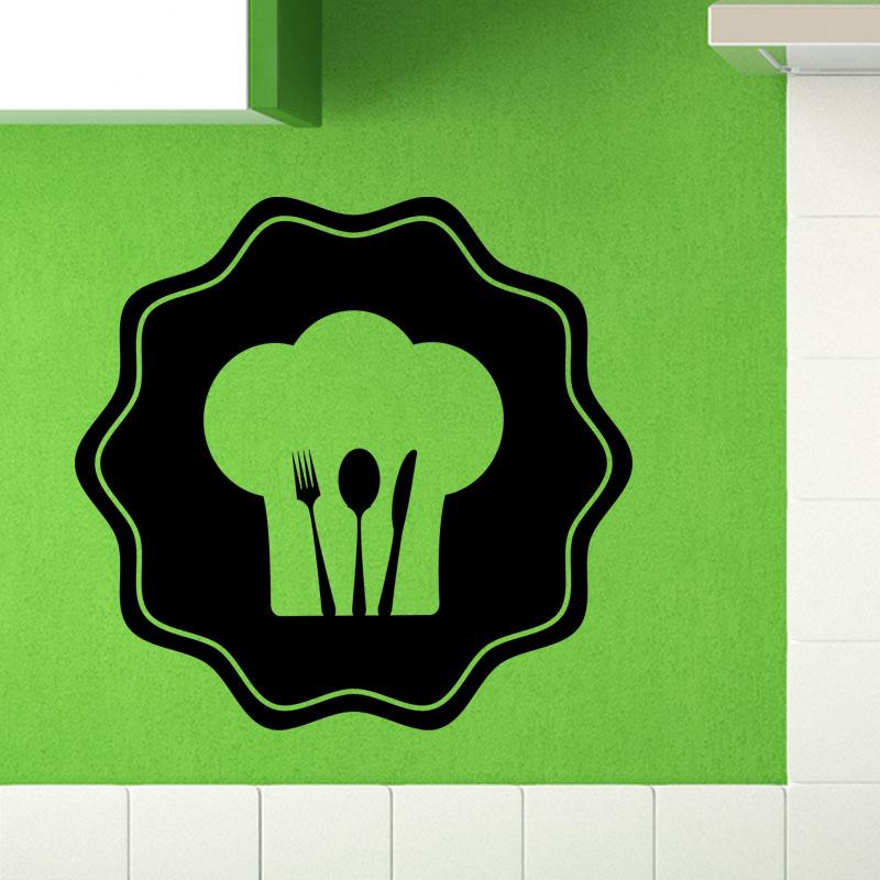 Sticker cuisine toque et couvert stickers cuisine - Couvert de cuisine ...