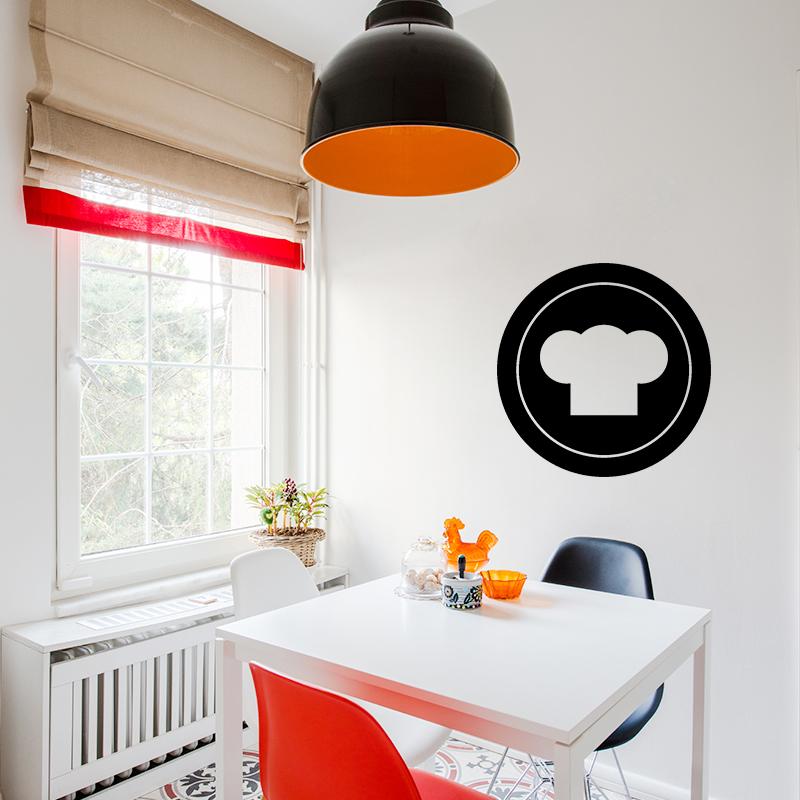 sticker cuisine toque sur une assiette stickers cuisine ustensiles ambiance sticker. Black Bedroom Furniture Sets. Home Design Ideas