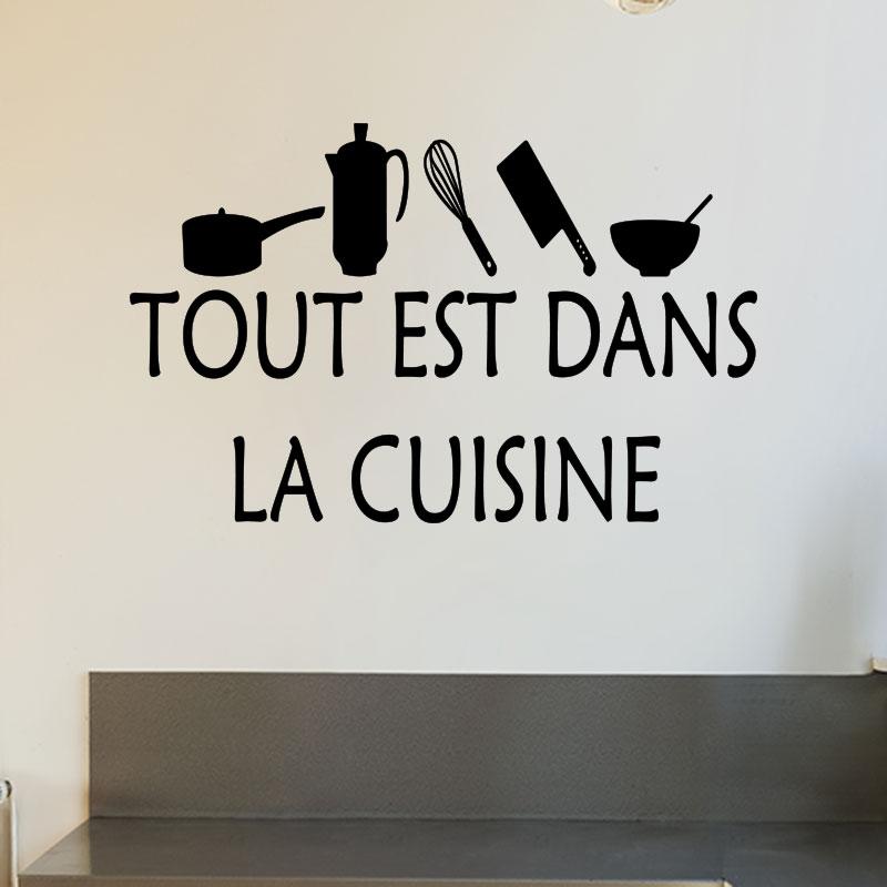 sticker cuisine tout est dans la cuisine stickers cuisine textes et recettes ambiance sticker. Black Bedroom Furniture Sets. Home Design Ideas