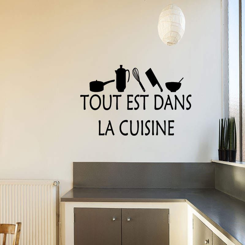 Sticker cuisine tout est dans la cuisine stickers - Stickers pour la cuisine ...