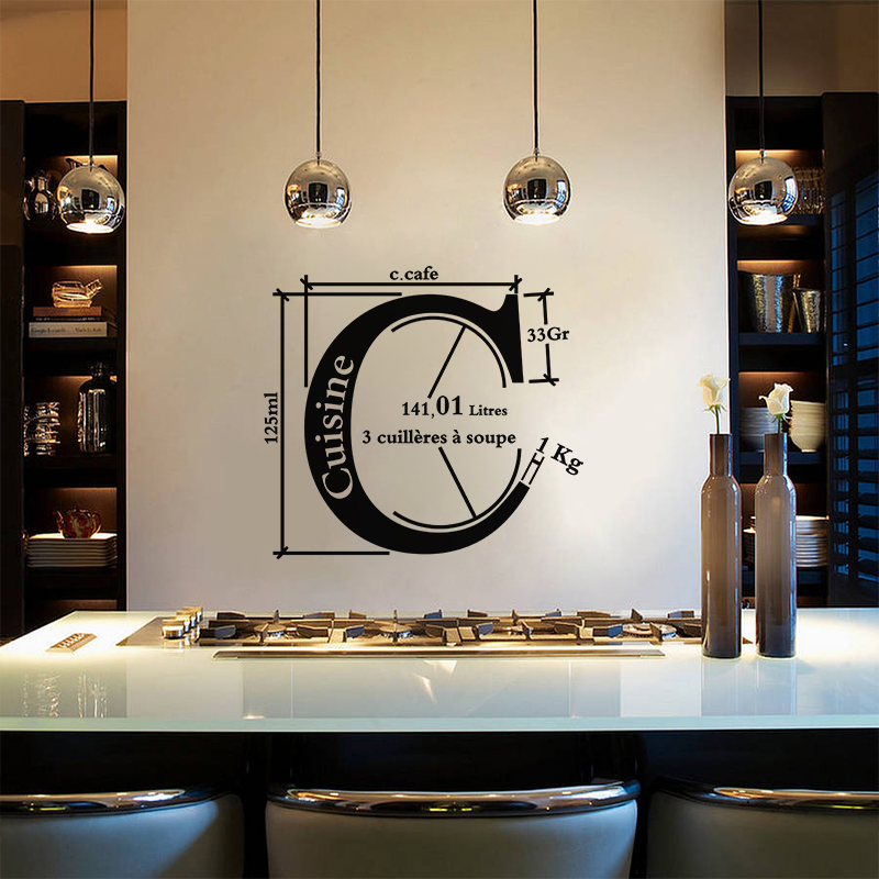 sticker cuisine unit de mesure de cuisine stickers cuisine design ambiance sticker. Black Bedroom Furniture Sets. Home Design Ideas