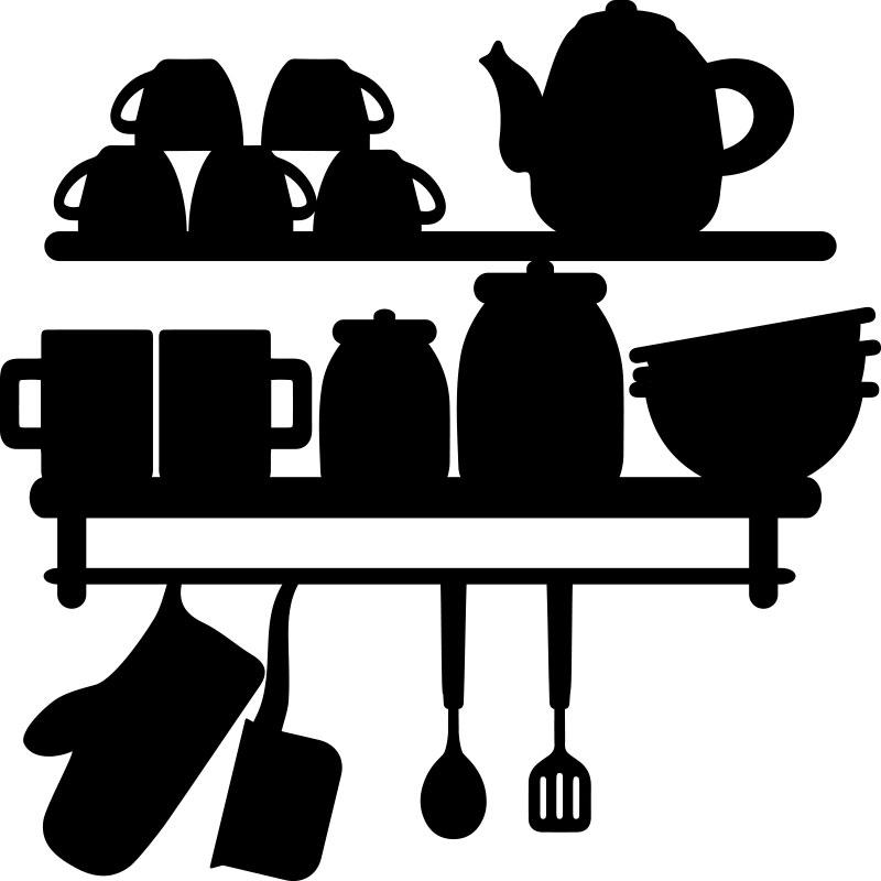Sticker cuisine ustensiles de cuisine stickers cuisine caf et th ambiance sticker - Ustensile de cuisine en f ...