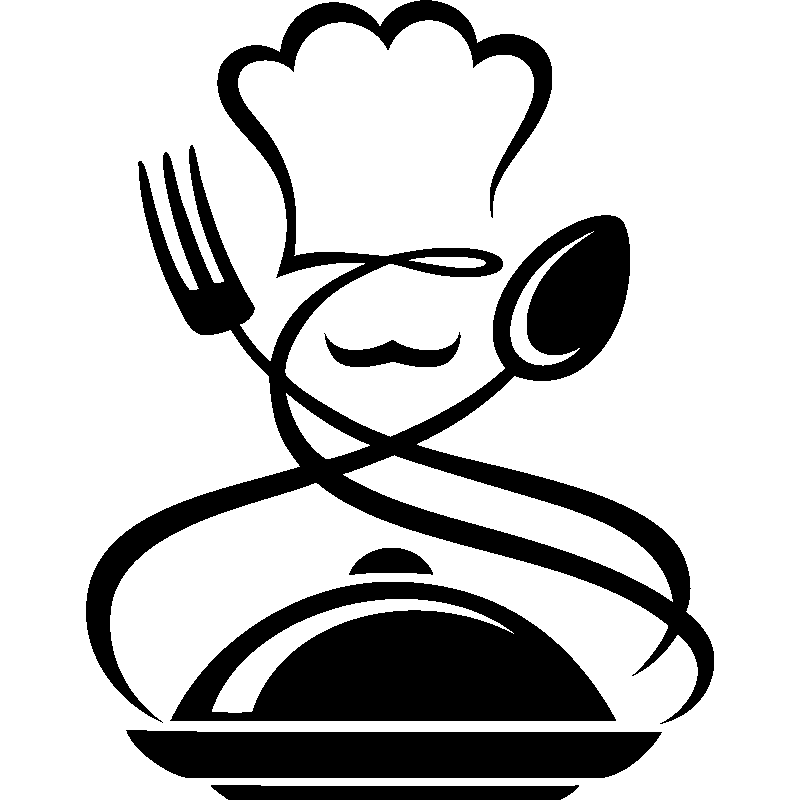 Sticker cuisinier fourchette cuill re repas chaud for Cuisinier png