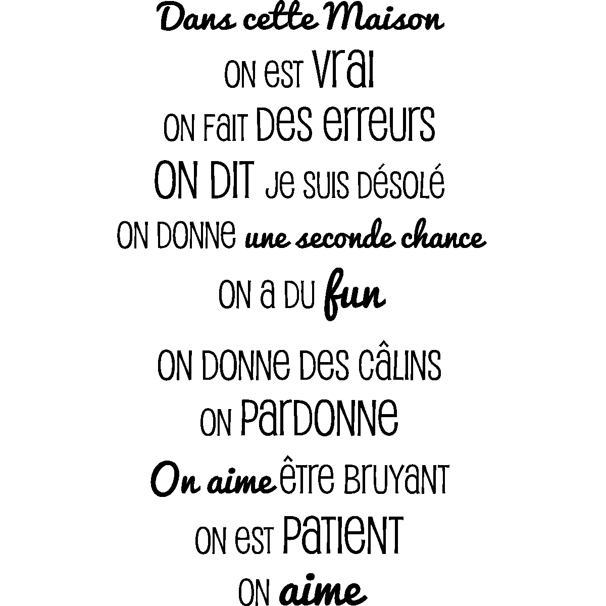 Sticker dans cette maison design stickers citations - Stickers dans cette maison ...