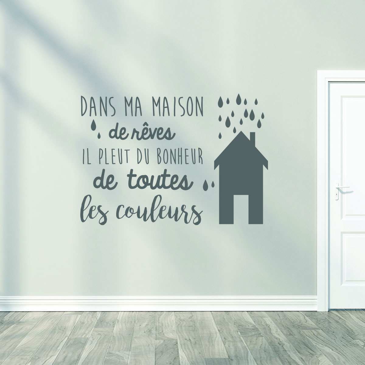 sticker dans ma maison de r ves stickers citations fran ais ambiance sticker. Black Bedroom Furniture Sets. Home Design Ideas