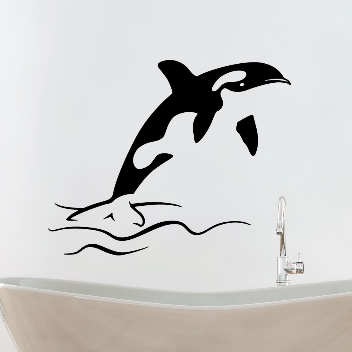 Stickers muraux pour salle de bain sticker mural dauphin for Stickers pour miroir salle de bain