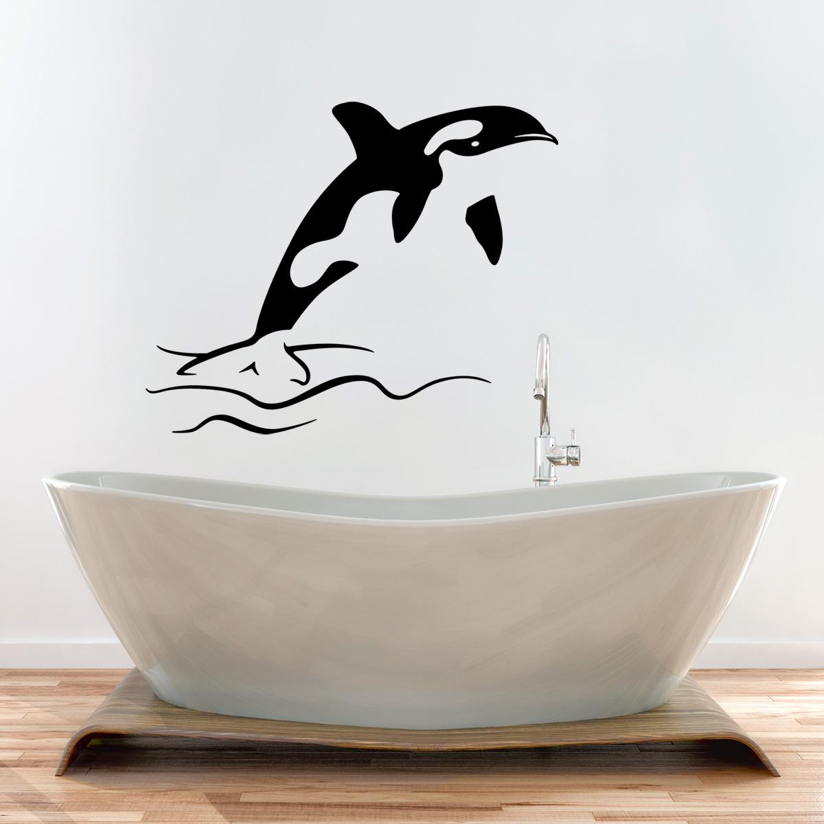 Stickers muraux pour salle de bain sticker mural dauphin for Rack pour le bain