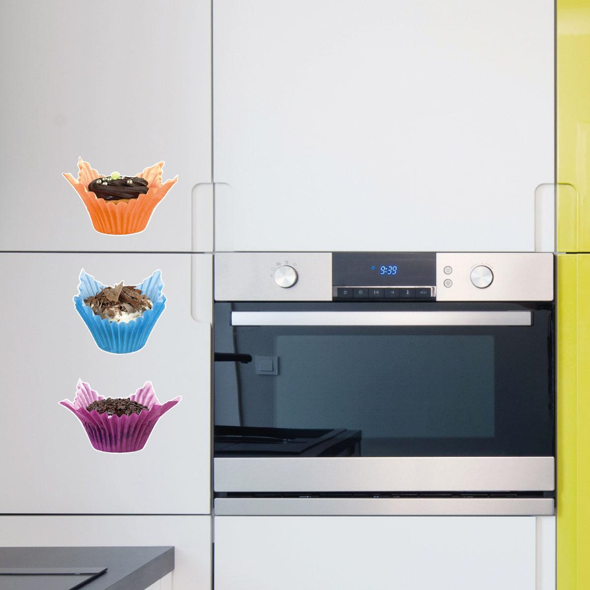 Stickers muraux pour la cuisine sticker 3 muffins - Stickers pour la cuisine ...