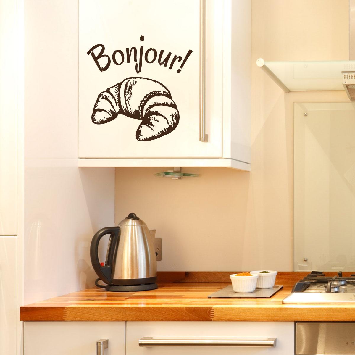 Stickers muraux pour la cuisine sticker bonjour - Stickers pour la cuisine ...