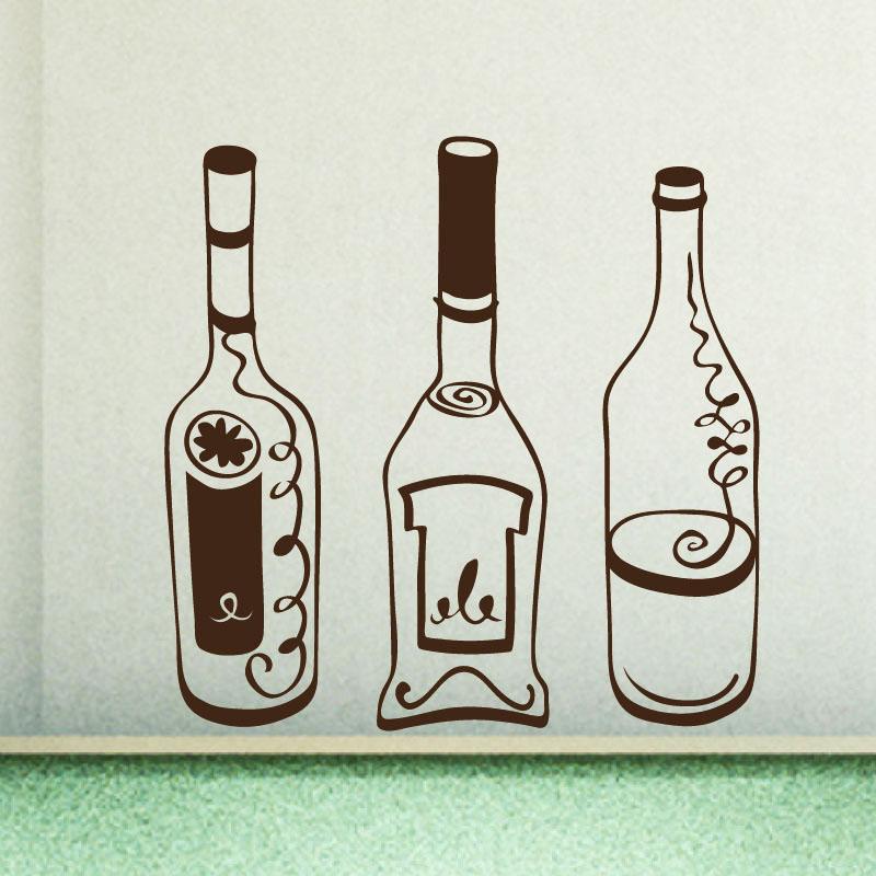 Stickers muraux pour la cuisine sticker bouteilles - Stickers pour la cuisine ...