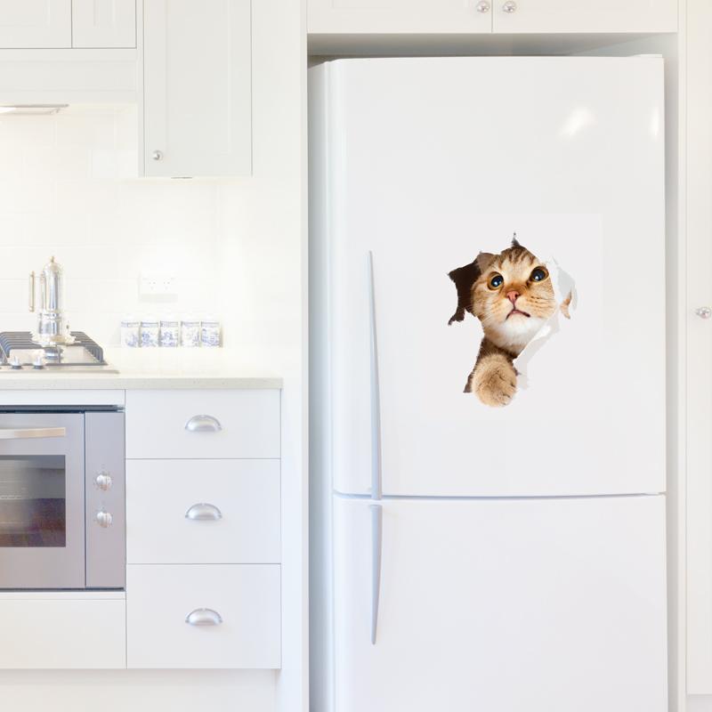 Stickers muraux pour r frig rateur sticker chat dans le - Stickers pour refrigerateur ...