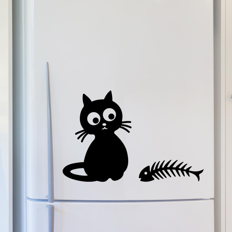 Stickers muraux pour r frig rateur sticker chat et - Stickers pour refrigerateur ...