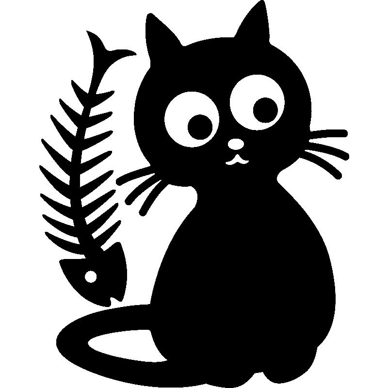 stickers muraux pour r frig rateur sticker chat et poisson os ambiance. Black Bedroom Furniture Sets. Home Design Ideas