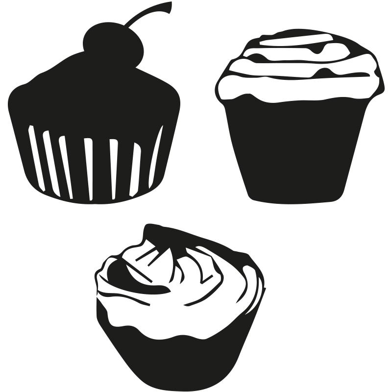 stickers muraux pour la cuisine sticker cupcake ambiance. Black Bedroom Furniture Sets. Home Design Ideas