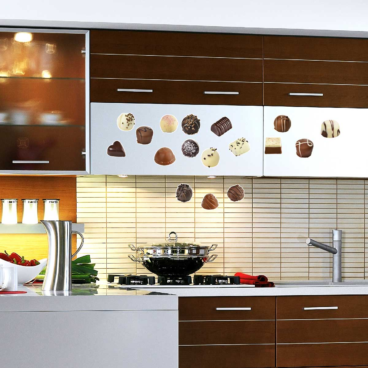 stickers muraux pour la cuisine sticker ensemble de chocolats ambiance. Black Bedroom Furniture Sets. Home Design Ideas
