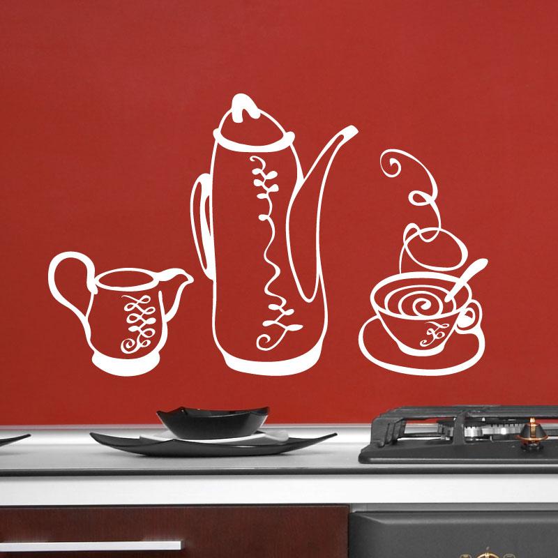 stickers muraux pour la cuisine sticker ensemble th caf ambiance. Black Bedroom Furniture Sets. Home Design Ideas