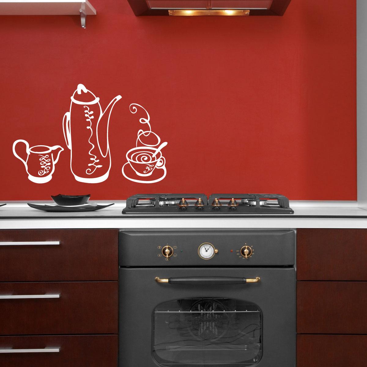 Stickers muraux pour la cuisine sticker ensemble th - Stickers pour la cuisine ...